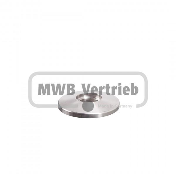 V2A Trapezscheibe Ø40 x 6 mm, mit Ausdrehung Ø16,2 x 3 mm, und Durchgangsbohrung Ø12,5 mm