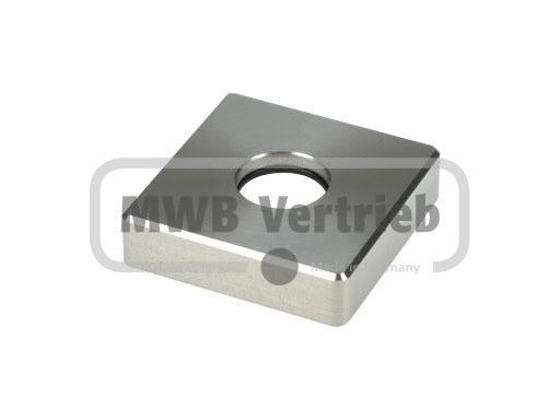 V2A Quadratrosette 43,3x43,3x11mm, mit Bohrung Ø16,3 für Stufenbolzen Ø16, CNC gedreht, mit Gummilag