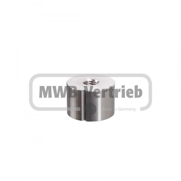 V2A Einschweißmuffe für Rohr Ø33,7x2,0 mm mit 20 mm M10 Innengewinde gekerbt für Rohrschweißnaht