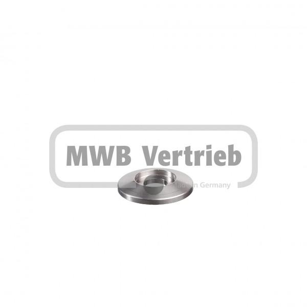 V2A Trapezscheibe Ø40 x 6 mm, mit Ausdrehung Ø21,5 x 3,0 mm, und Durchgangsbohrung 12,5 mm