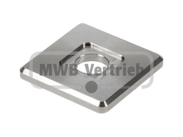 V2A Quadrat-Scheibe 35x35x4 mm, mit Ausdrehung 16x16x1,0 mm, und Durchgangsbohrung 11 mm