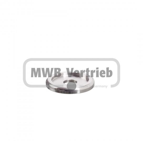 V2A Designscheibe Ø40 x 5 mm, mit Ausdrehung Ø30 x 2,5 mm, und Durchgangsbohrung Ø11 mm