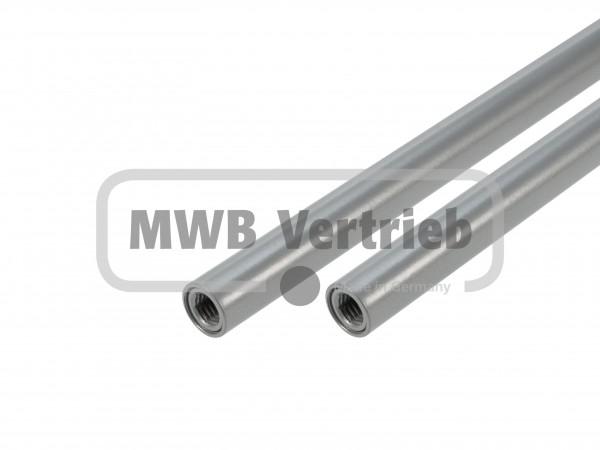 Stab Ø16x1,5 mm RAL 9006, Silber pulverbeschichtet, beidseitig Innengewinde M10, ohne Trapezscheibe