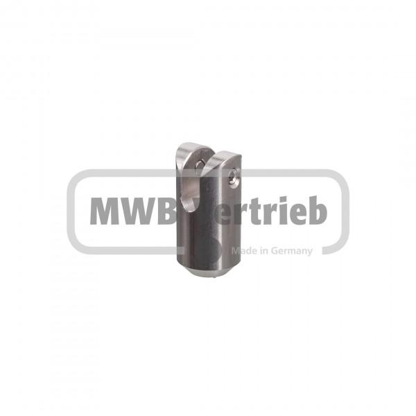 V2A Querstabhalter 35 mm lang, 90° für Relingstab Ø 10 mm, für T-Pfosten