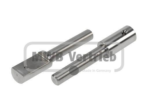 V2A Auflagebolzen Ø16x25x132mm, Bolzenlänge: 82 mm, Auflagefläche: 45 mm, inkl. Bohrung 5 mm für Lin