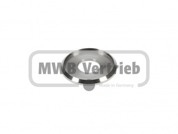 V2A Trapezscheibe Ø40 x 4 mm, mit Ausdrehung Ø34 x 2 mm, und Durchgangsbohrung Ø15 mm