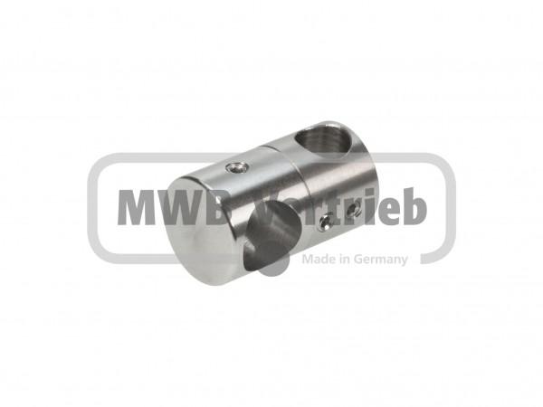 V2A Doppelquerstabhalter Ø25 x 44 mm mit 16 und 12 mm Bohrung