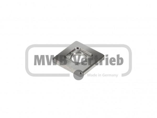 V2A Quadrat-Scheibe 30x30x4 mm, mit Ausdrehung 16x16x1,0 mm, und Durchgangsbohrung 11 mm