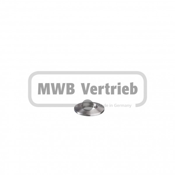 V2A Trapezscheibe Ø30 x 4 mm, mit Ausdrehung Ø16,2 x 1,5 mm und Durchgangsbohrung 12,5 mm