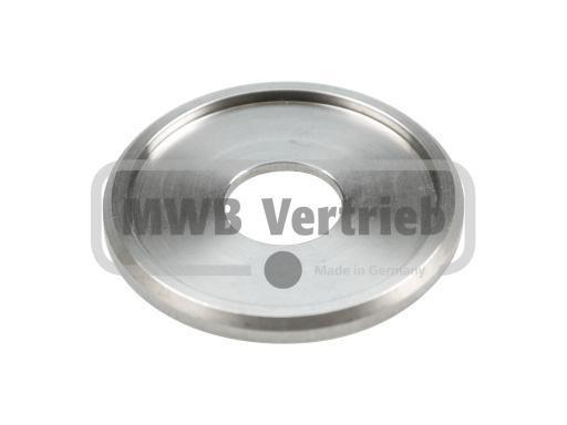 V2A Trapezscheibe Ø50 x 4 mm, mit Ausdrehung Ø42,6 x 2,0 mm, und Durchgangsbohrung 16,3 mm