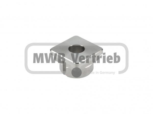 V2A Quadrat-Abdeckkappe, für Quadratrohr 30 x 30 x 2mm, 19 mm lang, mit 12 mm Bohrung