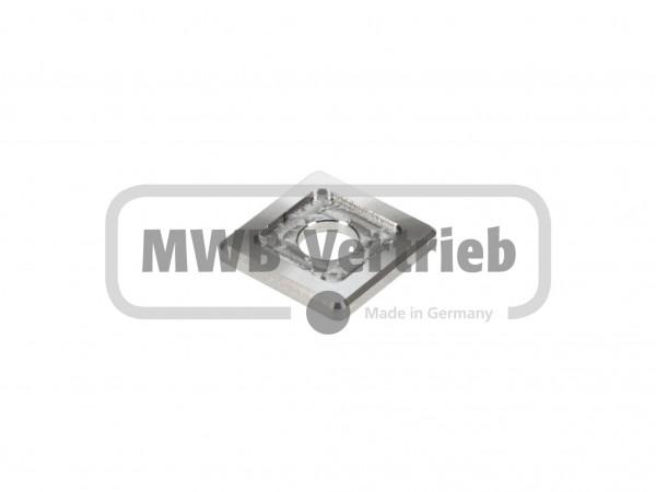 V2A Quadrat-Scheibe 30x30x4 mm, mit Ausdrehung 20x20x1,0 mm, und Durchgangsbohrung 11 mm