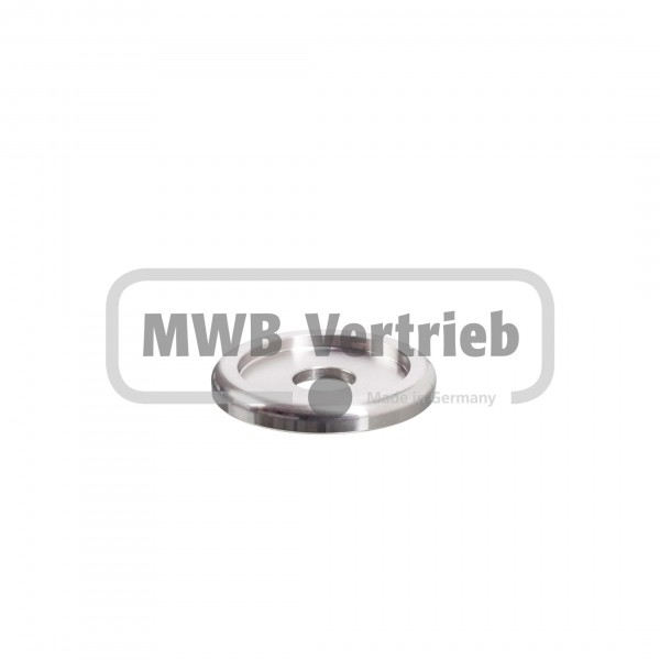 V2A Designscheibe Ø40 x 5 mm, mit Ausdrehung Ø14 x 2,5 mm, und Durchgangsbohrung Ø11 mm