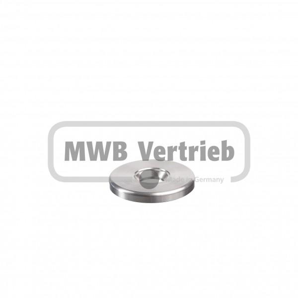 V2A Unterlegscheibe Ø50 x 6 mm, mit Ausdrehung Ø20 x 1,5 mm, und Durchgangsbohrung 14,5 mm für Schra