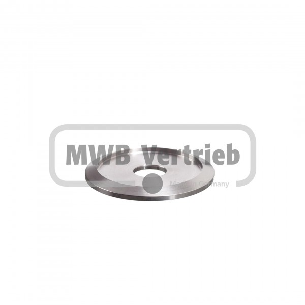 V2A Trapezscheibe Ø50 x 4 mm, mit Ausdrehung Ø40,2 x 2,0 mm, und Durchgangsbohrung 12,5 mm