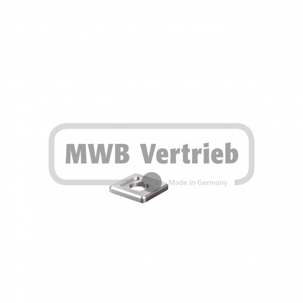 V2A Quadrat-Scheibe 25x25x4 mm, Ausdrehung 16,3x16,3x1,0 mm, und Durchgangsbohrung 11 mm