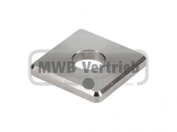 V2A Quadrat-Scheibe 35x35x4 mm, ohne Ausdrehung, mit Durchgangsbohrung 10,5 mm
