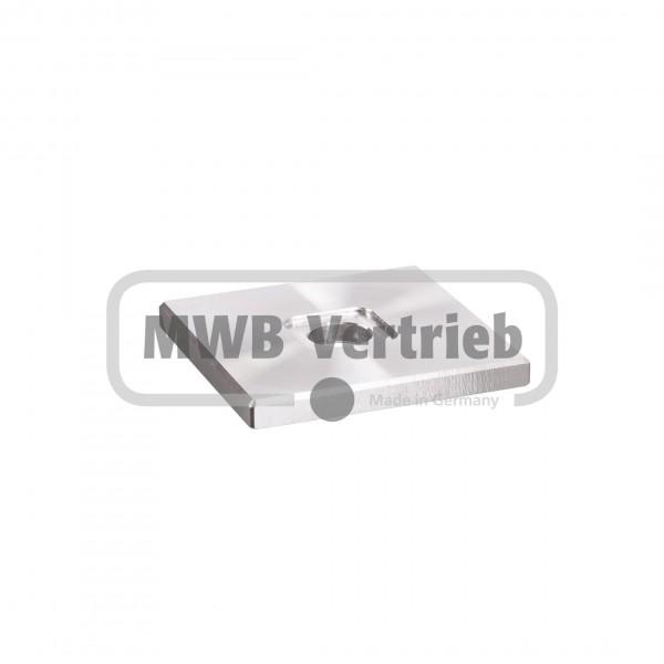 V2A Quadrat-Scheibe 50x50x4 mm, mit Ausdrehung 16,3x16,3x1 mm, und Durchgangsbohrung Ø11 mm