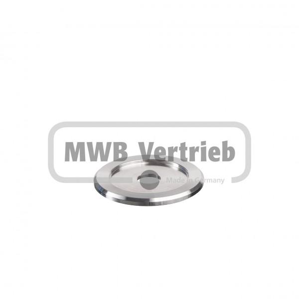 V2A Trapezscheibe Ø60 x 4 mm, mit Ausdrehung Ø42 x 2 mm, und Durchgangsbohrung Ø12 mm