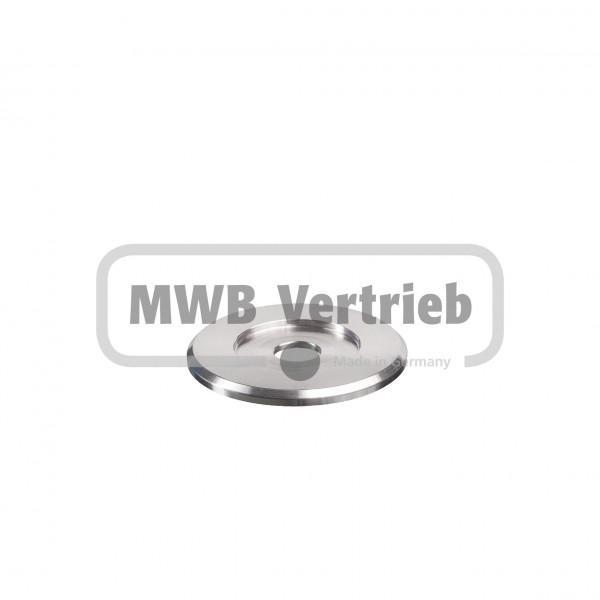V2A Trapezscheibe Ø60 x 4 mm, mit Ausdrehung Ø34,0 x 2,0 mm, und Durchgangsbohrung 12,5 mm