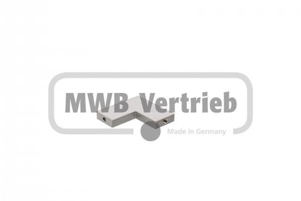 V2A Eckverbinder 65 x 65 mm, 2x Innengewinde M6x15, beidseitig geschliffen