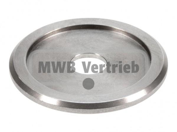V2A Trapezscheibe Ø55 x 4 mm, mit Ausdrehung Ø42,8 x 2,0 mm, und Durchgangsbohrung 12,5 mm