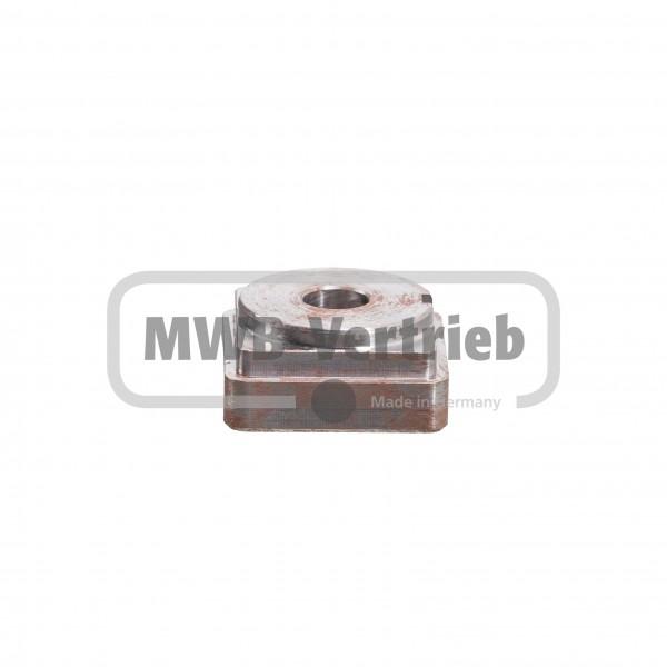 Einschweißdeckel 40x40x19 mm, mit Querbohrung M6 und Durchgangsbohrung Ø12 mm (Stahl)