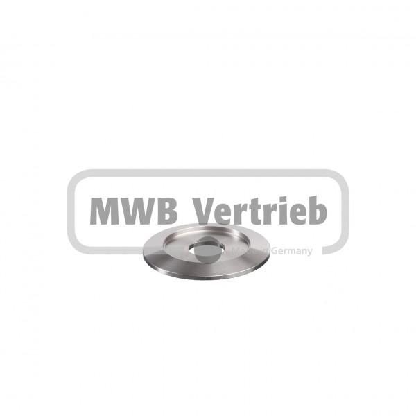 V2A Trapezscheibe Ø50 x 4 mm, mit Ausdrehung Ø33,9 x 2,0 mm, und Durchgangsbohrung 14,0 mm