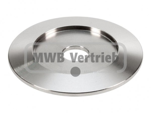 V2A Trapezscheibe Ø55 x 4 mm, mit Ausdrehung Ø34,2 x 2,0 mm, und Durchgangsbohrung 10,5 mm