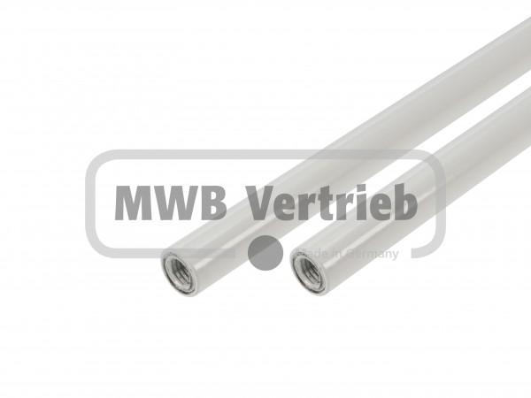 Stab Ø16x1,5 mm RAL 9010, weiß pulverbeschichtet, beidseitig Innengewinde M10, ohne Trapezscheibe