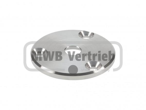 V2A Ronde Ø70 x 5,5 mm mit 3 Anschraubbohrungen