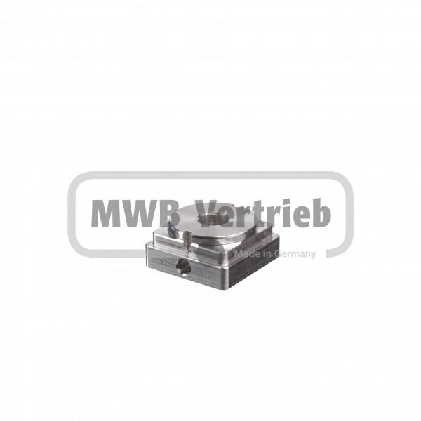 V2A Einschweißdeckel 40x40x19 mm mit Querbohrung M6 und Durchgangsbohrung Ø12 mm