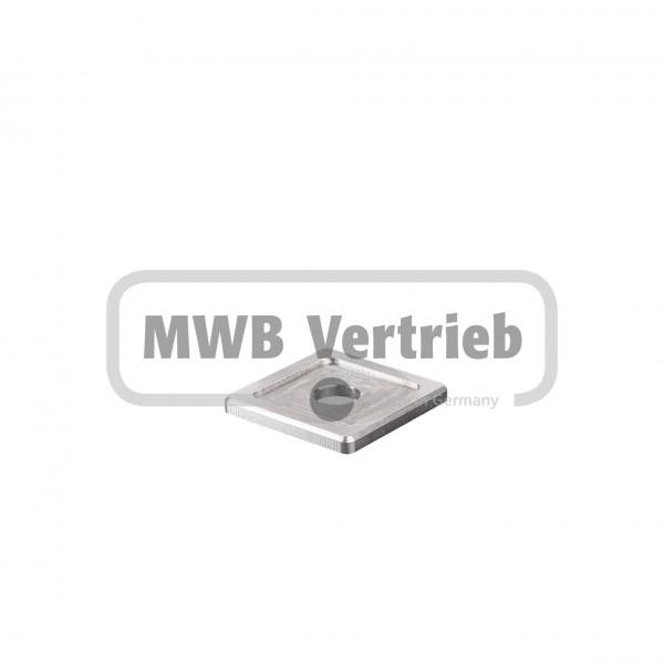 V2A Quadrat-Scheibe 40x40x4 mm, mit Ausdrehung 30x30x1,0 mm, und Durchgangsbohrung 13 mm