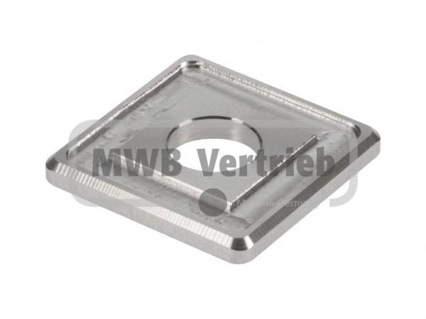 V2A Quadrat-Scheibe 35x35x4 mm, mit Ausdrehung 30x30x1,0 mm, und Durchgangsbohrung 13 mm