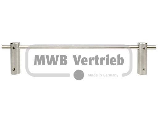 V2A Kinderschutzleiste dreiteilig mit 8 mm Querstab Länge 1200 - 1400 mm einschl. 2 Halter und 2 Nip