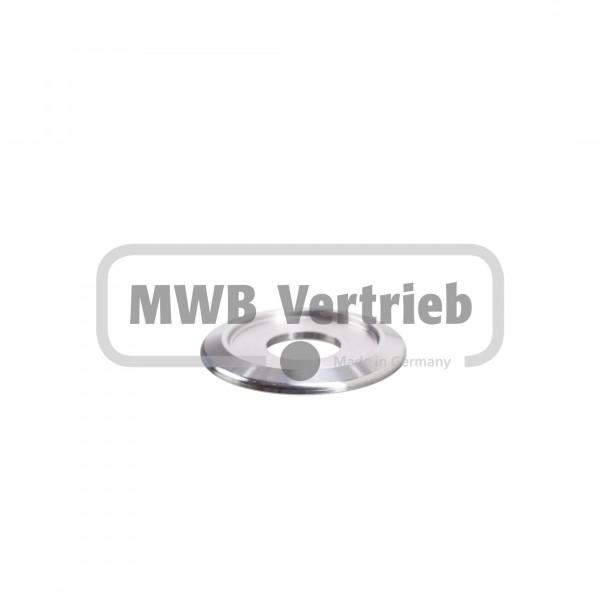 V2A Trapezscheibe Ø39 x 3,5 mm, mit Ausdrehung Ø28,0 x 1,5 mm, und Durchgangsbohrung 14,0 mm