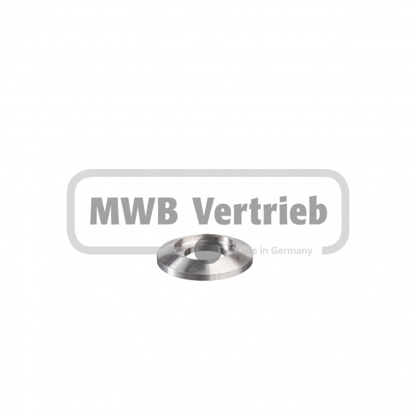 V2A Trapezscheibe Ø40 x 6 mm, mit Ausdrehung Ø25,2 x 3,0 mm, und Durchgangsbohrung 17,0 mm