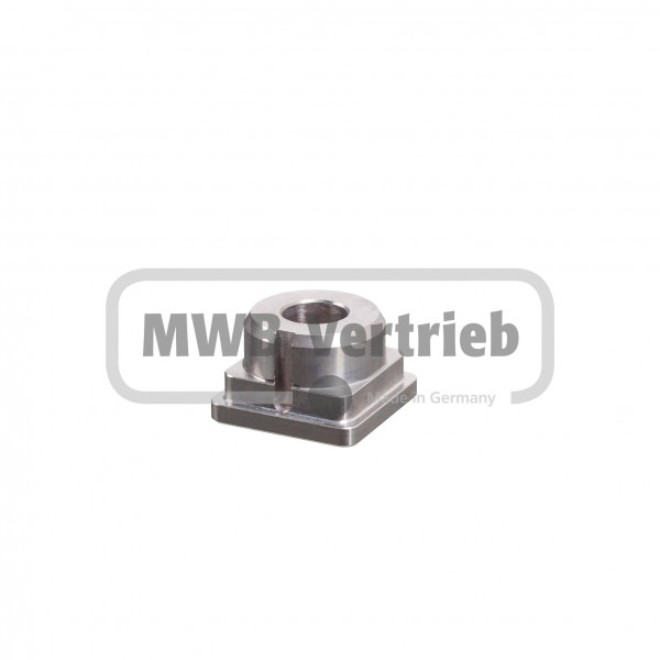 V2A Quadrat-Abdeckkappe 30x19 mm, flach mit Bohrung 12 mm