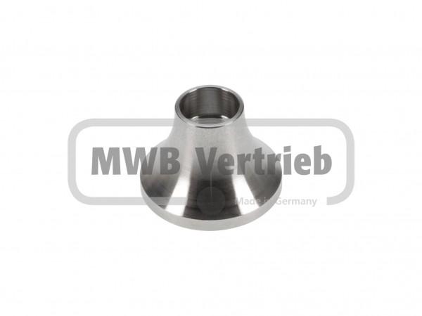 V2A Trompetenschuh Ø40 mm, mit Gewinde für Rohr Ø16