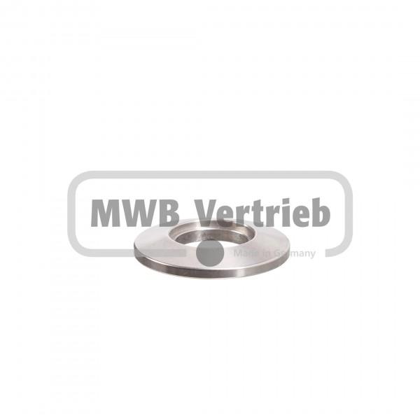 V2A Trapezscheibe Ø30 x 4 mm, mit Ausdrehung Ø16 x 1,5mm, und Durchgangsbohrung 14,0 mm