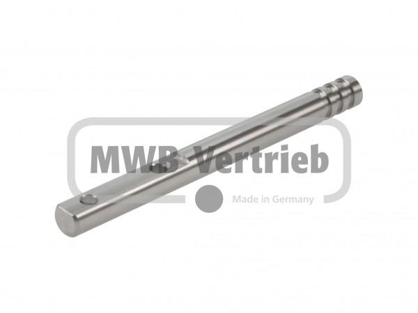 Edelstahl-Dorn/Stift 12 mm,135mm lang, Ausfräsung 50 mm,mit 2 Bohrungen (Abstand 30mm)
