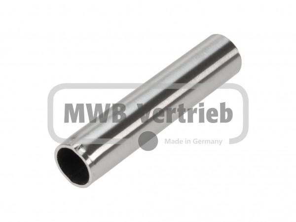 V2A Überschubhülse Ø20x120 mm, Wst.1.4301, geschliffen Korn400, innen und außen entgratet mit gepreß