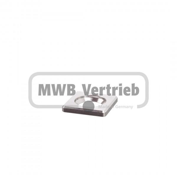 V2A Quadrat-Scheibe 30x30x4 mm, Senkbohrung für Senkkopfschraube M10 DIN 7991