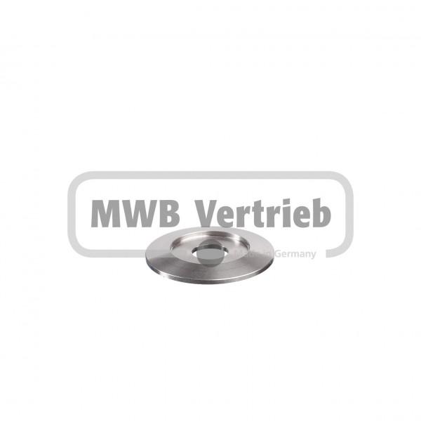 V2A Trapezscheibe Ø50 x 4 mm, mit Ausdrehung Ø30,0 x 1,5 mm, und Durchgangsbohrung 14,0 mm
