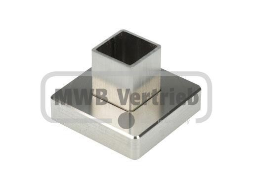 V2A Quadratrosette 43,3x43,3x11mm, für Quadratrohr 20mm, CNC gedreht, mit Gummilager, mit quadr. mit