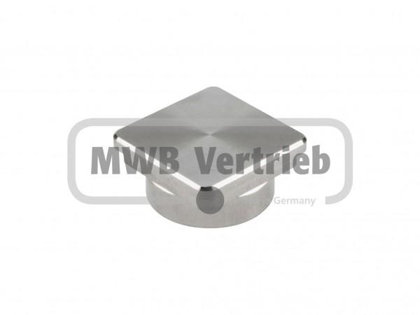 V2A Quadrat Kappe 30x30x10, flach für Rohr 30 x 30 x 2,0mm