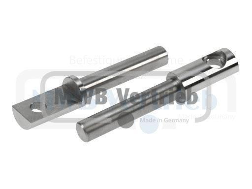 V2A Auflagebolzen Ø16x25x152mm, Bolzenlänge: 102 mm, Auflagefläche: 45 mm, mit Bohrung Ø12 mm