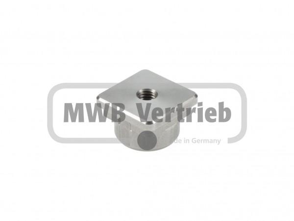 V2A Endkappe für Quadratrohr 25 x 25 x 2 mm mit Innengewinde M8