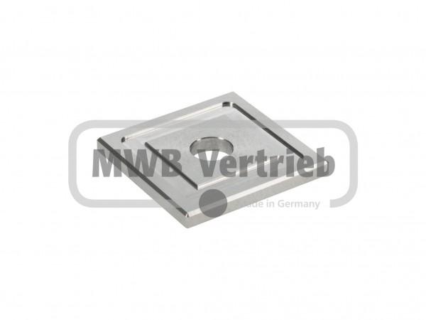 V2A Quadrat-Scheibe 50x50x5 mm, mit Ausdrehung 40x40x1,0 mm, und Durchgangsbohrung 12 mm