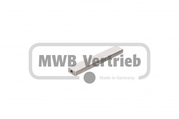 V2A Eckverbinder 20x10x130 mm, einseitig M6x20 Innengewinde, an Stirnseite mit Längsschliff